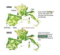 Mapa: Cómo la reforestación ha convertido a Europa Occidental en un lugar más verde en 2010 que en 1900: