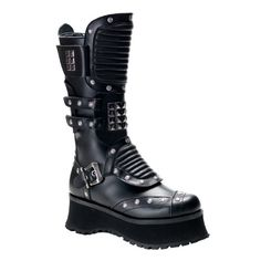 Special Offers Available Click Image Above: 2 3/4 Inch Mens Sizing Industrial Calf Boots Black Studded Platform