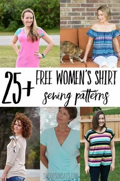 Free women's shirt sewing patterns Check out this mega list of free sewing patterns for women's tops! These free women's shirt sewing patterns range from dressy blouses to tshirts, with sizes & fabric type listed out. Shirt Patterns For Women, Sewing Patterns For Kids, Sewing Ideas, Diy Clothing, Sewing Clothes, Barbie Clothes, Mermaid Fabric, S Shirt, Top Pattern