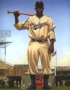 "Kadir Neson, painting of Jackie Robinson from his book ""We Are the Ship"" The Story of Negro League Baseball."