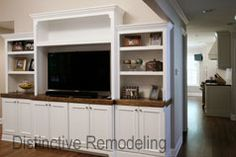 Built-in entertainment for wide screen TV and plenty of storage Remodeling Contractors, Home Remodeling, Wide Screen Tv, Mudroom, Entertainment, Storage, Building, House, Furniture