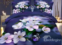 Vivid Vibrant Peach Blossom Blue 4-Piece Duvet Cover Sets