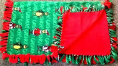 The Grinch fleece tie blanket,  reversible  blanket. Shop here: https://www.etsy.com/listing/252833540/the-grinch-fleece-tie-blanket-reversible?ref=shop_home_active_6 #christmas #blankets #simpleesweetboutique