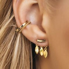Many gold earrings, boho style - LadyStyle