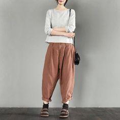 Orange linen long pants