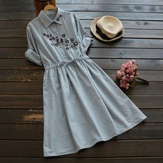 Cheap vestido feminino, Buy Quality autumn women dress directly from China linen dress Suppliers: Vintage Flower Embroidery Lacing Waist Cotton Linen Dress Mori Girl 2017 Autumn Women Dress New Style vestidos femininos Different Dresses, Simple Dresses, Casual Dresses, Fashion Dresses, Short Dresses, Frock Dress, New Dress, Embroidery On Clothes, Flower Embroidery