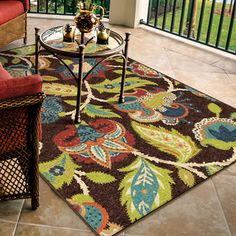 Promise Basil Brown Floral Area Rug (7'8 x 10'10) - Overstock™ Shopping - Great Deals on Carolina Weavers 7x9 - 10x14 Rugs