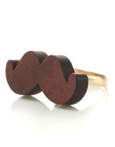 Woody Moustache Ring | Brown | Accessorize L