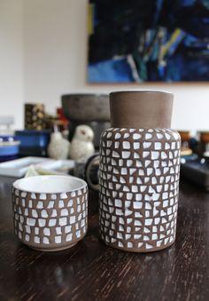 Ingrid Atterberg Uppsala Ekeby set of two vases. Kajsa Ceramics on Etsy