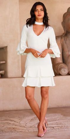 ON SALE $69.98 from Boston Proper, The Keyhole Ruffle Pleated Dress in Ivory & Black ~ Today's Sale Item