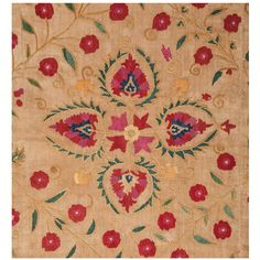 Antique Uzbek Embroidey or Suzani, Central Asia, 19th Century   From a unique collection of antique and modern tapestries at https://www.1stdibs.com/furniture/wall-decorations/tapestry/