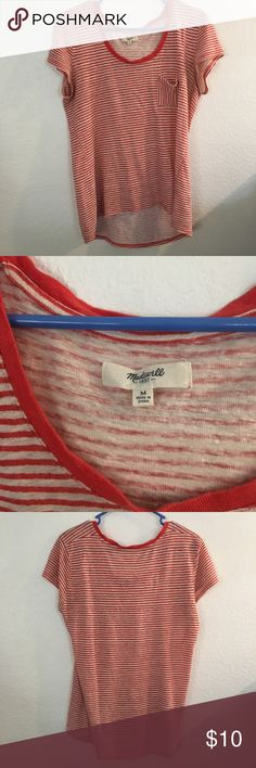 Selling this Madewell Red Striped Tshirt on Poshmark! My username is: bremonkey93. #shopmycloset #poshmark #fashion #shopping #style #forsale #Madewell #Tops