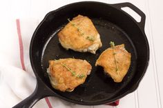 Pan-Fried Chicken Thighs by handleheat -- use a paleo fat, not veg oil -- sooo good! Meat Recipes, Paleo Recipes, Chicken Recipes, Cooking Recipes, Pan Roasted Chicken Thighs, Roast Chicken, Stuffed Chicken, Crispy Chicken, Sauces