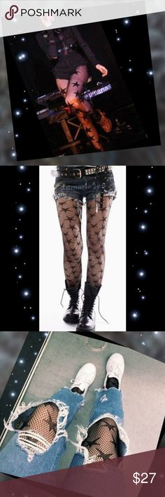 NEW black mesh fishnet stockings w/ stars Brand New, sexy black fishnet hollow out mesh stockings/Tights/ with stars add a touch of flirt and personality to your wardrobe, LOOKS great under cut up jeans, skirts or dress even shorts create your own style. ANOTHER ONE OF MY FAVORITES 💋 a must have 💕 These are one size fits most , but they are more of a free size which means lots of stretch (And they are the mesh fishnet not pantyhose type 1st pic  just for example 💋) boutique Accessories…