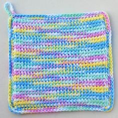 Pastel Variegated Crochet Potholder in Tunisian Simple Stitch