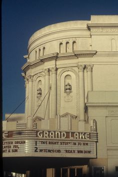 Grand Lake Theatre, Oakland, CA (ca. 1983) View of the Grand Lake facade in the early years of Renaissance Rialto operation, before the addition of two more screens in 1985, and the repainting of the exterior, and long before the 1990s restoration of the marquee neon and paint scheme.