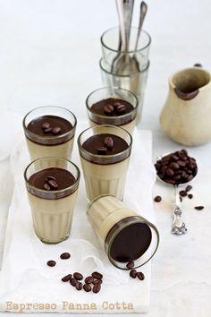 Espresso Panna Cotta.  Smooth, silky, seductive with coffee written all over it, how can dessert be so indulgent. The simplest make ahead dessert ever!   #Desserts #Espresso #ShermanFinancialGroup