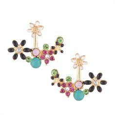 LUFANG Luxury Colorful Crystal Flower Stud Earrings for Women  Fashion Vintage Punk Statement Wedding Love Earrings Gift Bijoux