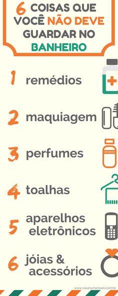 Infográfico - 6 coisas que você não deve guardar no banheiro Bathroom Organisation, Organization Hacks, Planners, Flylady, Personal Organizer, Home Hacks, Getting Organized, Clean House, Feng Shui
