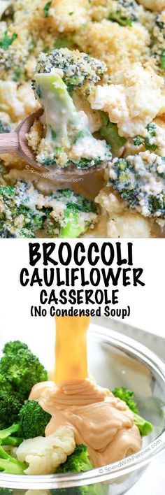 Cheesy Broccoli Cauliflower Casserole is the perfect side dish for any turkey dinner or weeknight meal. This easy side contains no condensed soup. Tender crisp veggies tossed in an easy homemade cheese sauce and topped with a buttery crumb topping.