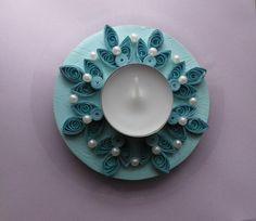 bougeoir turquoise en papier plié quilling  paperolle