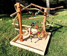Custom Parrot Play Station, Playground, Bird Gym, Wooden Play Stand Perch