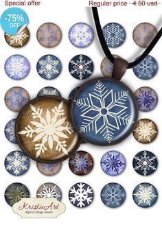 75% OFF SALE Snowflakes  Digital Collage Sheet by KristieArtDesign