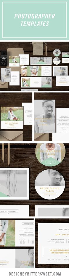 Senior Photography Marketing templates. Professional photographer branding materials. Pricing guides, graduation announcements, business cards.  *Beautiful images provided by @ErinNeace