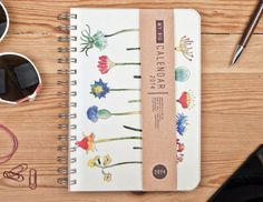 2014 SEPTEMBER to 2015 SEPTEMBER Weekly Planner Calendar Diary Day Spiral A5 Floral Flower This Day Planner - October 2 October available! on Etsy, £14.87