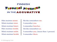 The Finnish personal pronouns in the accusative