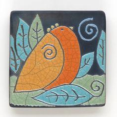 Bird,Ceramic Wall Art , Bird,Ceramic tile,handmade 4x4 raku fired art tile via Etsy by DavisVachon
