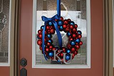 KU Wreath using styrofoam wreath, unbreakable ornaments from HL (you can get them at walmart, too) Blue Ribbon & Letters from HL painted with silver metallic acrylic paint.