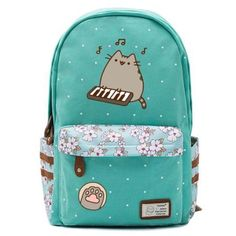 backpacks Similar to our standard Pusheen Cat Backpack, this version is available in Pink, Teal, Blue or Navy and is accented by a stylish floral pattern with brown PU leather details. Pusheen Backpack, Cat Backpack, Mochila Kpop, Pusheen Cute, Pusheen Stuff, Cat Merchandise, Kawaii Accessories, Girls Bags, Cute Bags