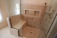 Ada Shower with Bench Visit us to get more tips for handicapped bathrooms at DisabledBathrooms.org