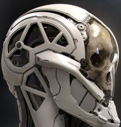 Inspiration for the robot skull, the pieced metallic bits stood out to me as keeping human form but also keeping to robotic looks Futuristic Armour, Futuristic Art, Robot Design, Helmet Design, Armor Concept, Concept Art, Science Fiction, Arte Robot, Sci Fi Armor