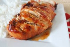 Cranberry Chicken Breasts -----  easy Slow Cooker recipe made with cranberry sauce and BBQ sauce.  Serve with rice.