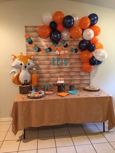 Reid's Fox Themed First Birthday Party Simple 1st Birthday Party Boy, Baby Boy Birthday Themes, Simple Birthday Decorations, Baby Boy First Birthday, Boy Birthday Parties, Birthday Ideas, Fox Party, Birthdays, Baby Shower