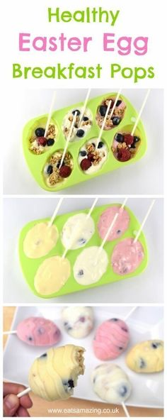 Fun and healthy Easter Breakfast Pops recipe - cute and delicious alternative to chocolate treats for kids this Easter(Easter Baking For Kids) Easter Snacks, Easter Brunch, Easter Treats, Easter Desserts, Easter Food, Kid Snacks, Easter Party, Easter Baking Ideas, Cute Kids Snacks