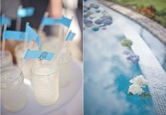 floating flowers... Of Course! Perfect for any pool side reception!