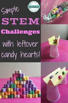 Candy Heart STEM Challenges…fun ideas for leftover candy hearts. From STEM Activities for Kids Stem Science, Science For Kids, Science Experiments, Science Ideas, Science Centers, Mad Science, Preschool Science, Science Fair, Teaching Science