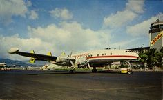 postcard - Transocean Airlines Constellation at Honolulu Airport  My father-in-law flew for this airline back in the day!