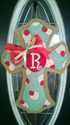 Cross Burlap Door Hanger by AustinAvenueEast on Etsy, $30.00