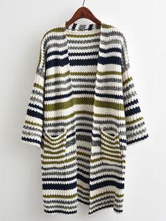 Multi-striped Drop Shoulder Cardigan -SheIn(Sheinside)
