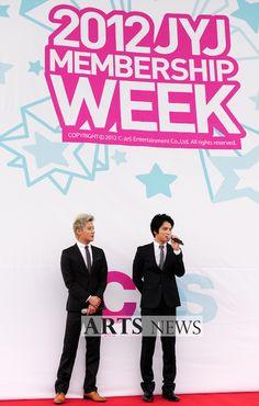 JYJ's Jaejoong and Junsu launch their fan exposition at the '2012 JYJ Membership Week'