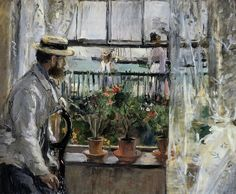 Beth Morisot: 1875 Eugène Manet on the Isle of White oil on canvas 38.1 x 18.1 cm, Private Collection, 1875