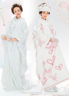 Scena D'uno wasou bridal kimono (着物) collection   In full wedding regalia – an uchikake or long ceremonial over coat worn over the kimono and head dress or tsunokakushi completes the look. Unlike a western wedding gown train the robe is long throughout, from the front to the back, so the bride has to pick up the length of the coat as she walks.