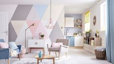 Retro Home Decor Interior Pastel, Bedroom Wall, Bedroom Decor, Zen Interiors, Diy Décoration, Retro Home Decor, Interior Design Inspiration, Girl Room, Wall Design
