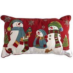 Snowman Family Pillow---Pier 1 Imports---future home Christmas Fair Ideas, Christmas Bags, Christmas Love, All Things Christmas, Christmas Stockings, Christmas Crafts, Christmas Decorations, Christmas Fonts, Christmas Applique