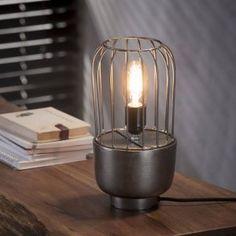 Bordlampe, industriel design, sort nikkel, højde 31 cm