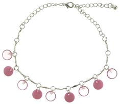 Silver-Tone Ankle Bracelet With Pink Disc Shaped Charm Accents AN1464A-PNK